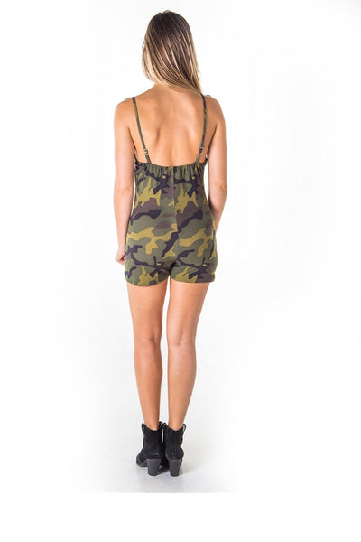 Ladies fashion camo print knit romper shorts with adjustable draw string