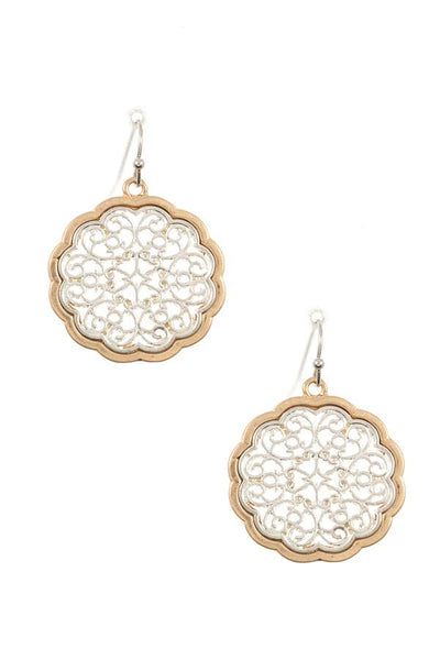 Ladies filigree two tone dangle earring
