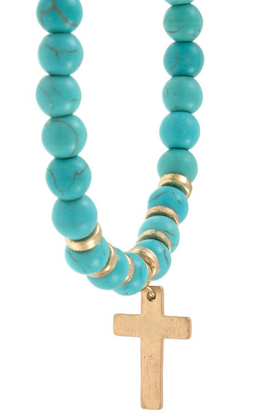 Ladies gem bead cross dangle bracelet