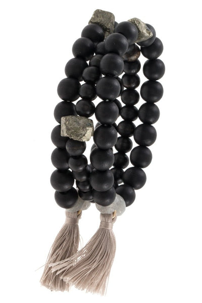 Ladies wood bead tassel link bracelet