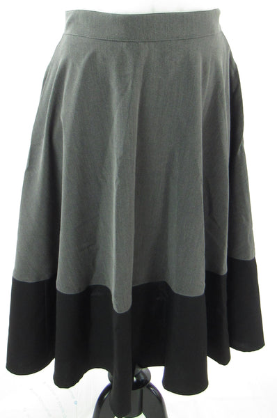 Grey and Black Color-Block Skirt