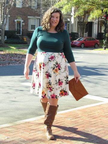 Hunter Green and Floral Dress