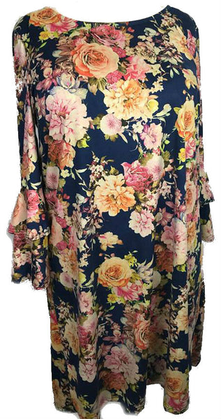 Floral Bell-Bottomed Sleeve Dress