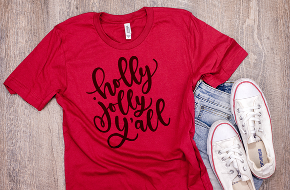Holly Jolly Y'all Adult Christmas Tee