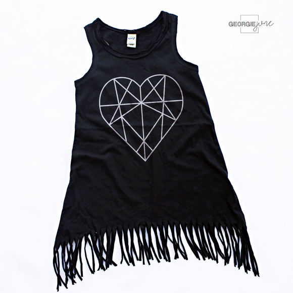 girls fringe dress, geometric heart fringe dress, cute fringe dress, little girls fringe dress, black fringe dress, girls summer dress