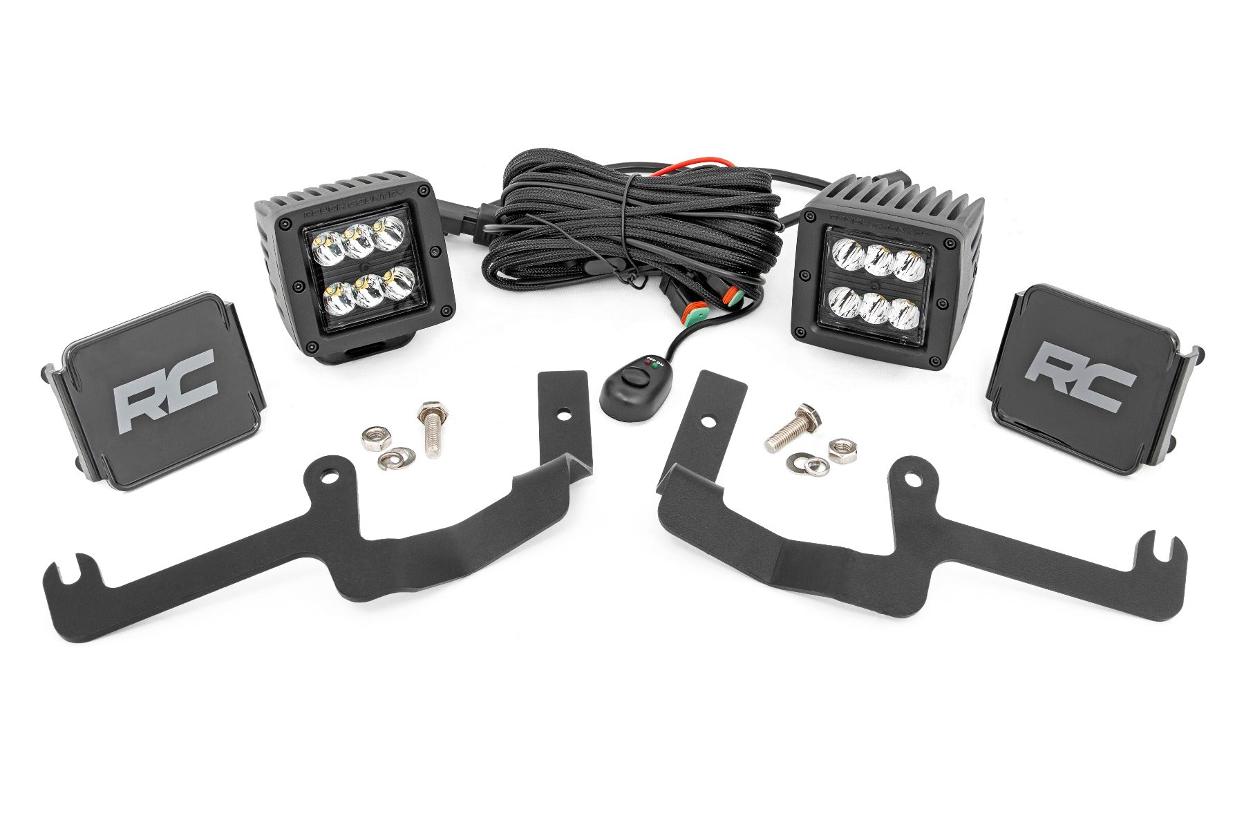 Chevy 2-inch LED Lower Windshield Ditch Kit Black Series Spot Beam (19-20 Silverado)