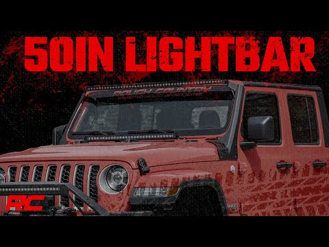 Jeep 50-inch Straight LED Light Bar Upper Windshield Kit w/ Single-Row Black Series LED | White DRL (2020 Gladiator JT, 18-20 Wrangler JL)