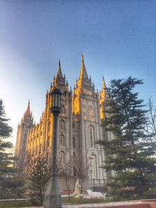 Sunlit Salt Lake City Temple Square With Lamp Post