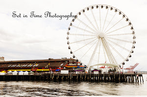Seattle Ferris Wheel Sits On The Edge Of Pier