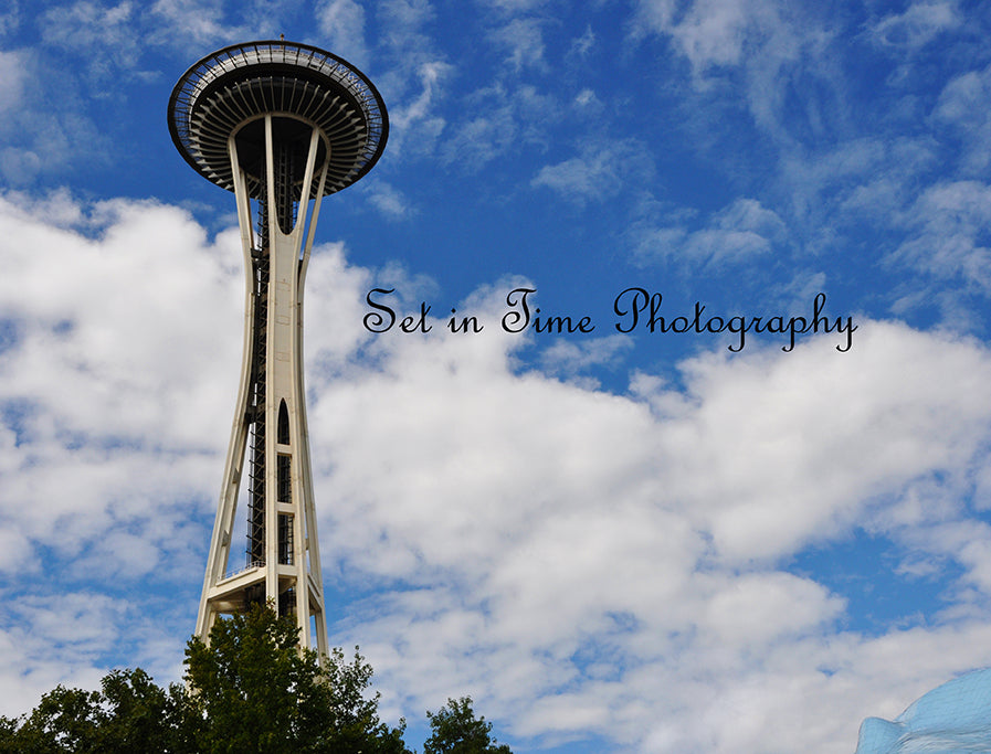 Seattle Washington Space Needle And Blue Skies