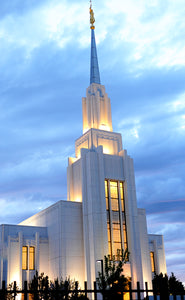 Twin Falls temple evening lighting perfection