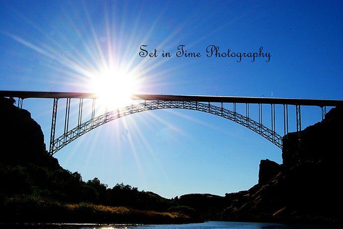 Very Blue Sky With Perrine Bridge And Sun