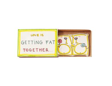 "Hộp diêm Tình yêu""Love is getting fat together"" Gấu mập - LV067"