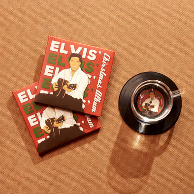 Bộ 2 Lót ly Đĩa than Elvis Presley's Christmas - CS032