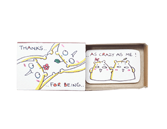"Cute Card, Witty Friendship Card, ""Thanks for being as crazy as me"" Matchbox Card"