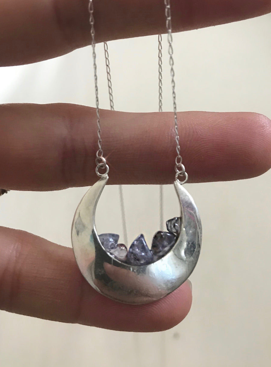 Half Moon Geode Necklace