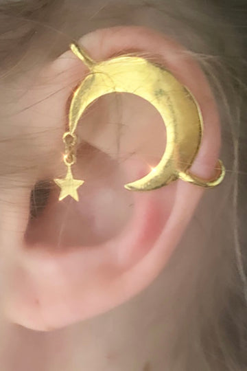 Half Moon and Star Ear Cuff