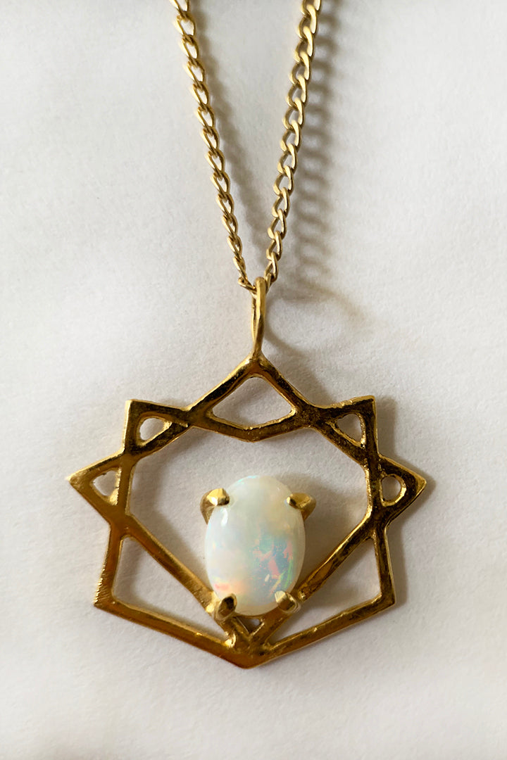 Opal Eight Point Star Necklace