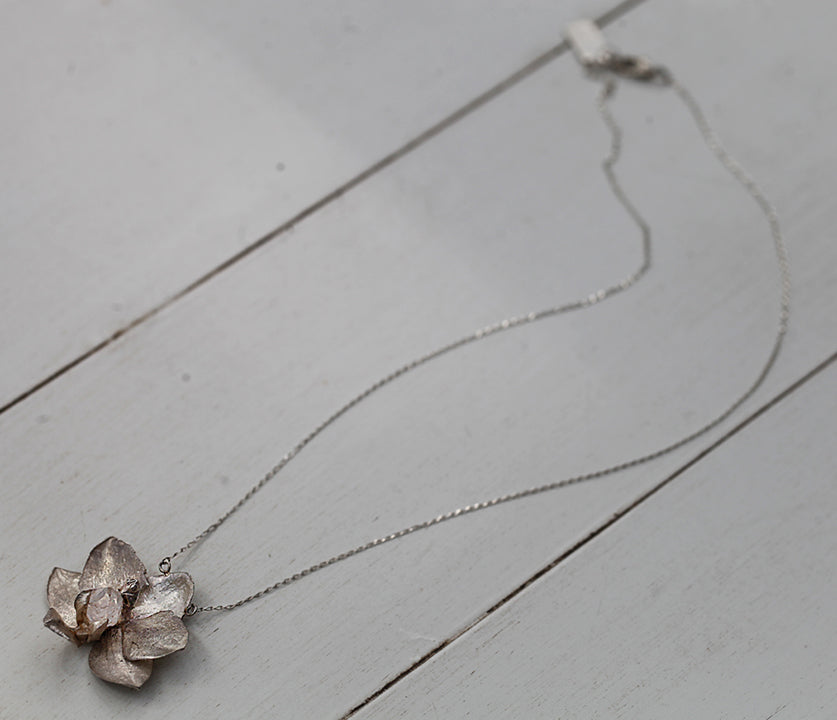 Orchid Necklace with Herkimer Diamond