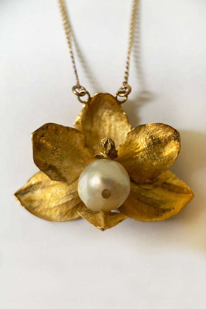 Pearl Orchid Necklace
