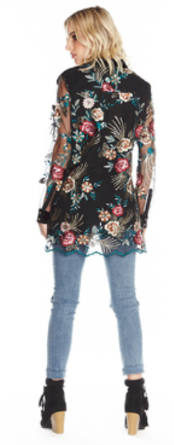 Queen Mary Velvet Burnout Embroidered Shirt
