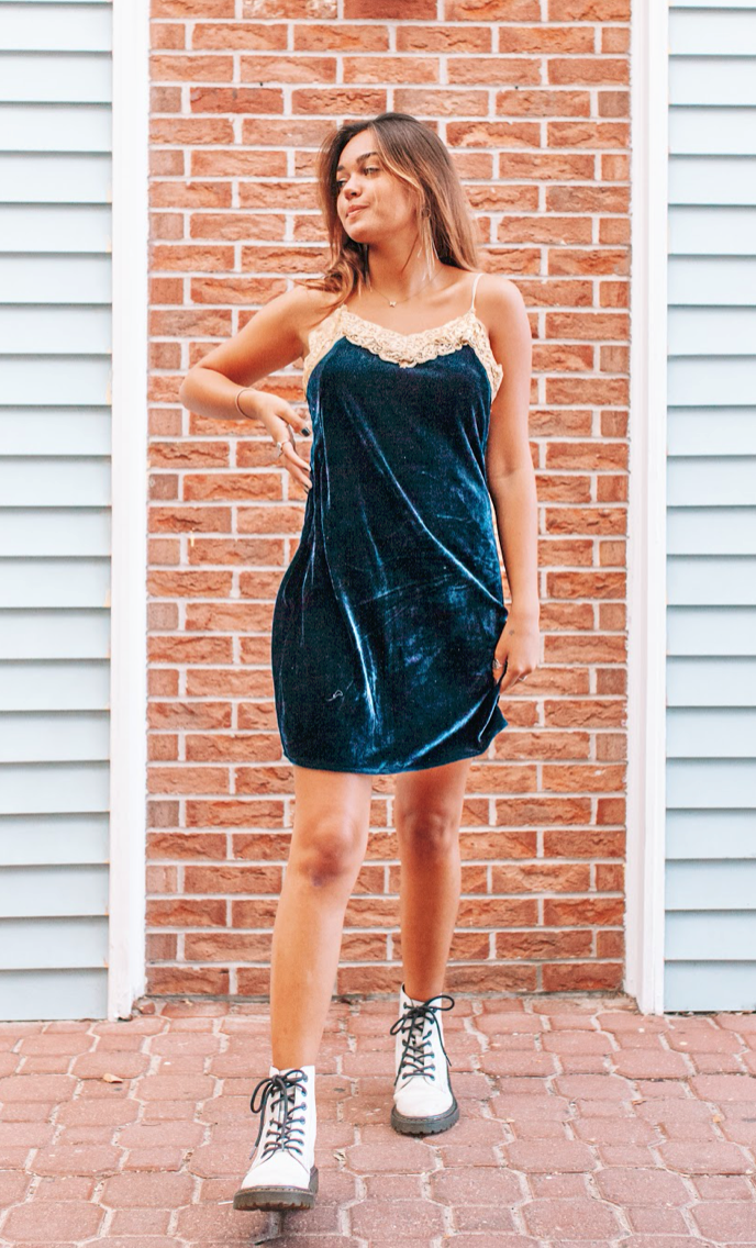 Without You Blue Velvet Mini Dress