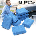 8 Pcs Blue Microfiber Applicator Sponge Pads For Car Wash Wax Polishing Cleaning