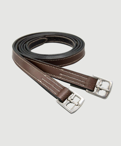 HBW-802 Stirrup Leathers, Flat, Edge-Stitch 7/8