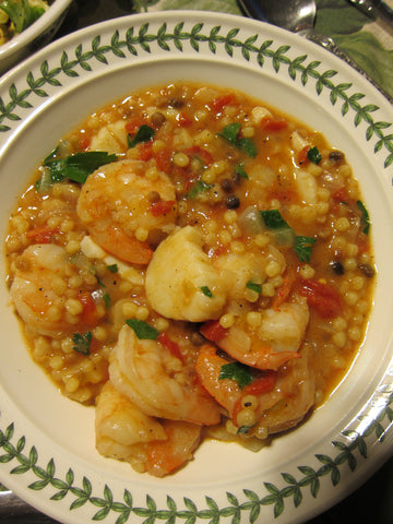 Shrimp & Scallop Fregola Sarda pasta with Spicy Pepper Relish