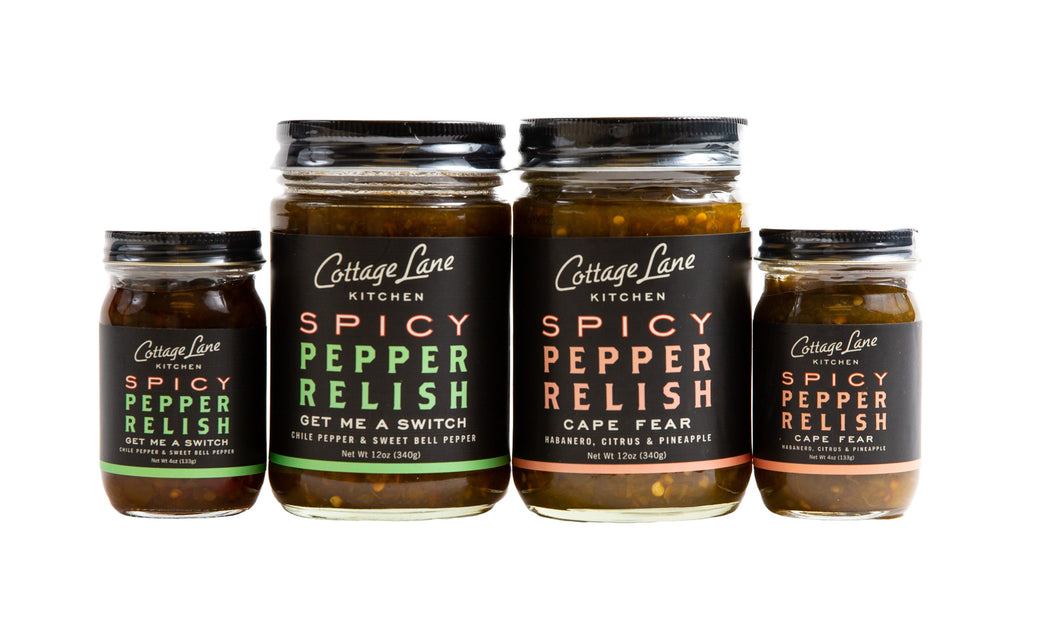 Large and small duo - Keep a Set Gift a set. Get Me A Switch and Cape Fear Spicy Pepper Relishes