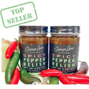 Our Best Seller two 12oz bottles of Get Me A Switch Spicy Pepper Relish