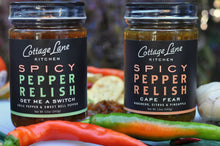 Cape Fear and Get Me A Switch Spicy Pepper Relishes in 12oz bottles