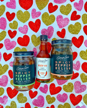 Our award winning spicy pepper relishes, Get Me A Swith and Cape Fear and our award winning hot sauce Hissy Fit is included in the gift boxes