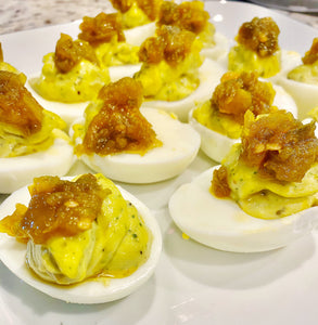 Deviled Eggs topped with Cape Fear Spicy Pepper Relish