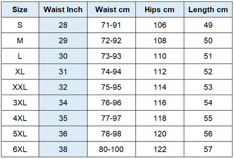 Unisex Fishing Shorts Size Chart