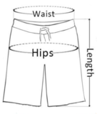 Measurement Guide for men's shorts.