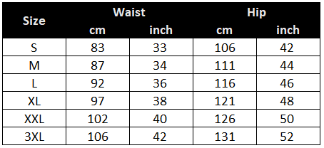 Constructed fishing shorts size chart