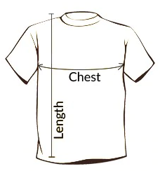 Diagram on how to measure men's fishing t-shirt.
