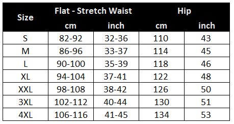 Mechanism fishing shorts size chart