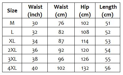 This is the men's size chart for the bushwalker hiking shorts sold by Guts Fishing Apparel.