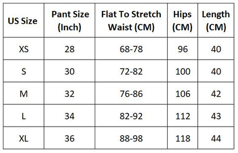 US size chart for Guts beach shorts.