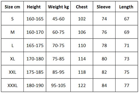 Zhuoka Fishing Shirt Size Chart