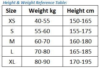 height and weight reference table for fishing t-shirt.