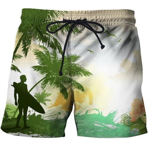 Tropical surf shorts for beach. White, yellow and green.