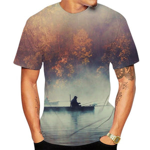 Man fishing on small boat on a misty lake surrounded by maple trees printed on a t-shirt.