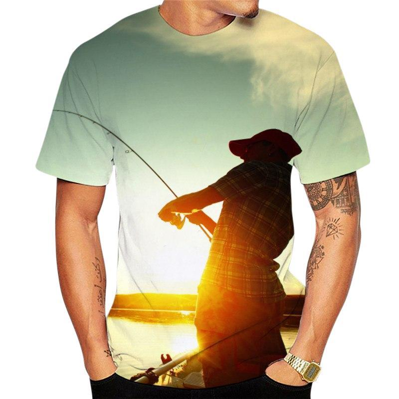 Men's 3D graphic fishing t-shirt. Man fishing at sunset.