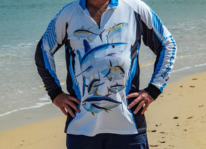 The Blue Fin long sleeve fishing being worn at Fraser Island