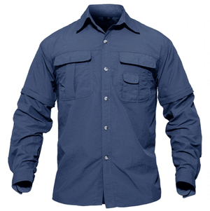 Navy fishing shirt, button up, stand collar and zip off sleeves.
