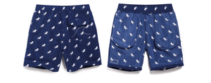 Men's beach shorts with no mesh on the inside. The shorts are blue with white deckchairs.