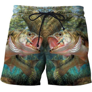 Two fish printed onto a pair of men's shorts. The fish look as if they are going to bit the man's private parts.